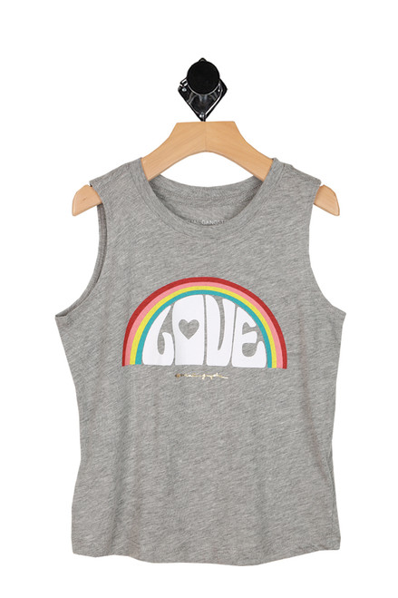 rainbow with love printed at front on heather grey muscle tee