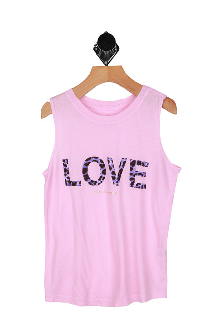 "purple cheetah print lettering saying ""LOVE"" printed at front on pink muscle tee"