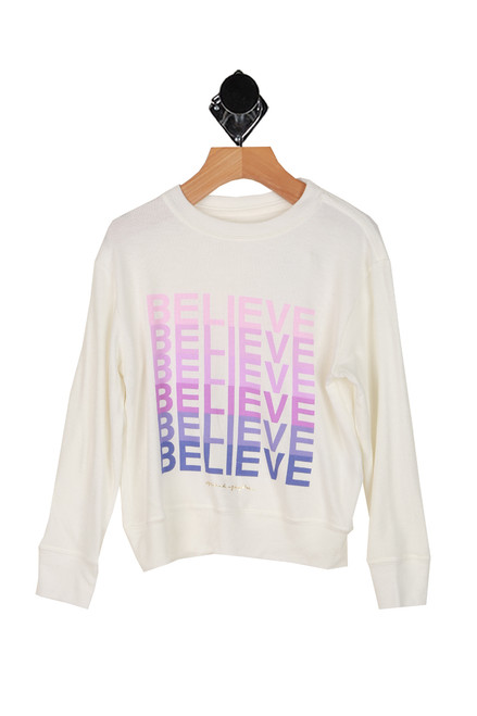 believe printed at front on soft white crew neck long sleeve sweater