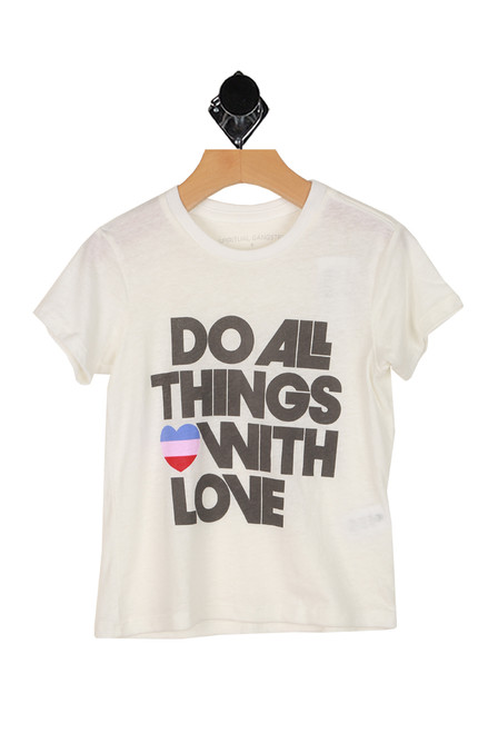 Do all things with love printed at front on white short sleeve tee