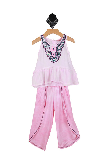 embroidered pink tank with ruffle detailing with matching pants