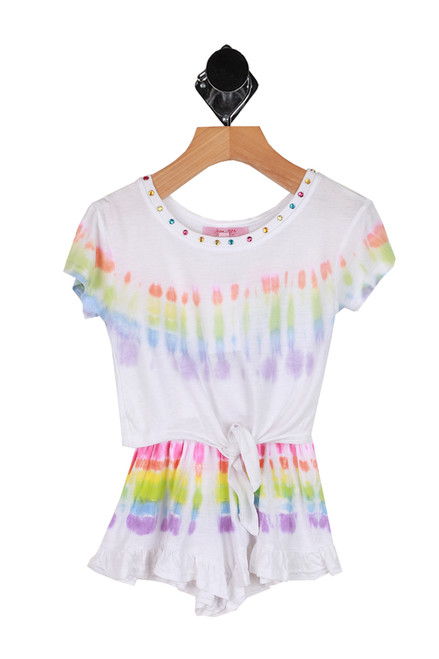 tie dye set with ruffle shorts and matching tie front tee