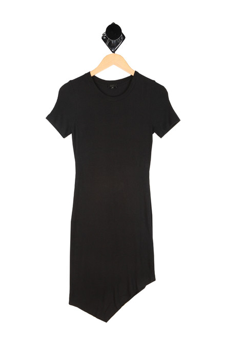 rib knit asymmetrical bottom hem black dress