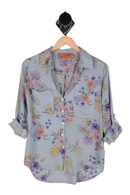 Hi-Lo Floral Print Button Up Blouse