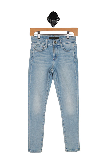 front light denim skinny cropped jeans with side pockets.