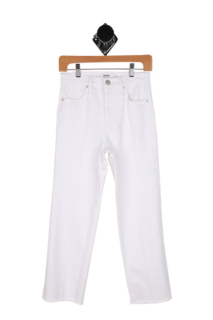 high rise white straight jeans with front pockets