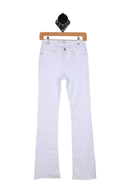 white denim jeans with a bootcut flare