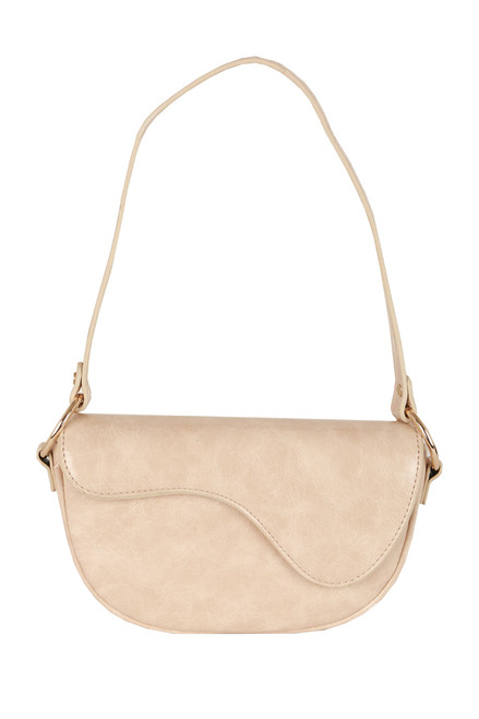 Faux Leather Shoulder Baguette Bag