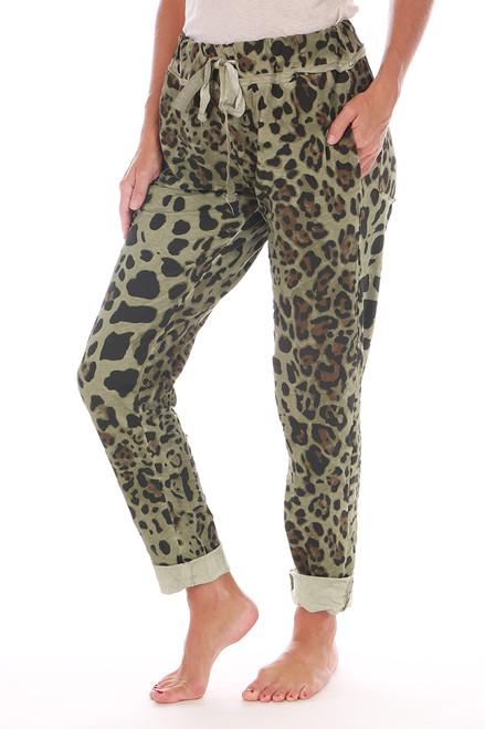 Olive Leopard Jogger Pants