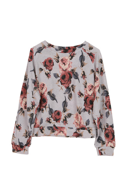Floral Print Pullover L/S Top