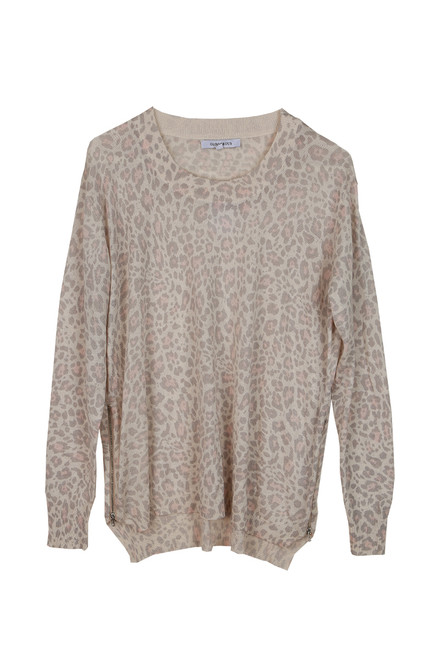 Blue Leopard Print L/S Top