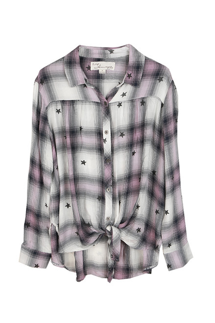 Star Tie Front Plaid L/S Blouse