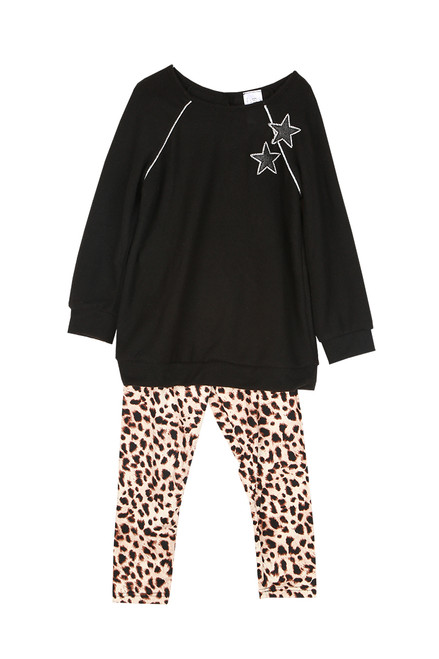 Star Sweater W/ Leopard Leggings (Toddler)