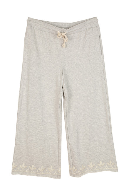 French Terry Embroidered Culottes Sweatpants