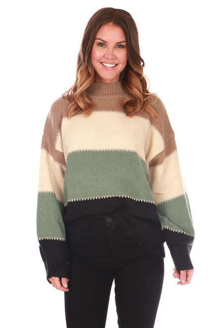 High Neck Bubble Sleeve Sweater