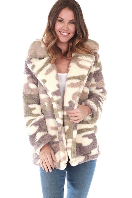 Pippa Camo Sherpa Coat
