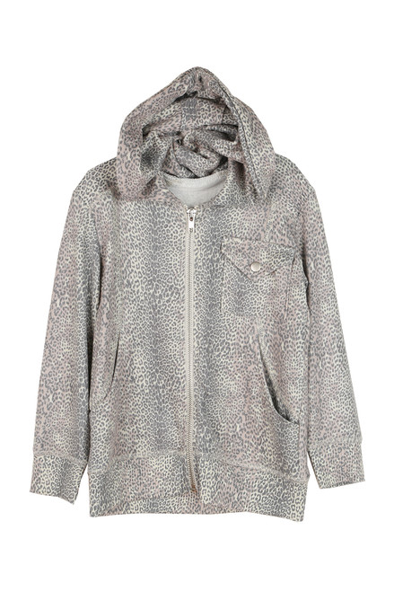 Leopard Knit Zip Up Hoodie (Little/Big Kid)