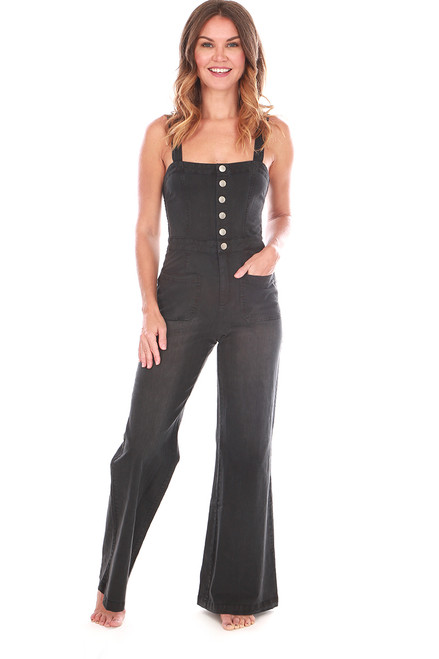 Stretch Button Down Jumpsuit