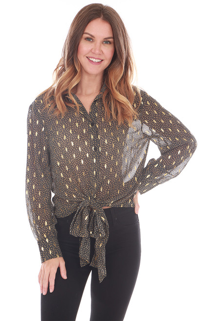 Sheer Button Up Blouse W/ Tie (+ colors)