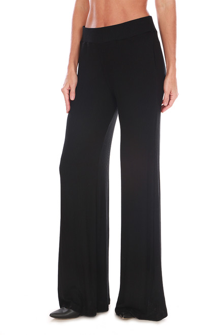 High Rise Flared Rib Knit Pants