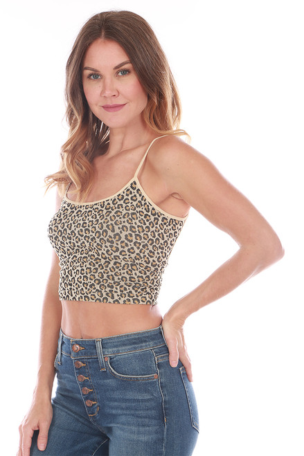 Leopard Cropped Cami Top