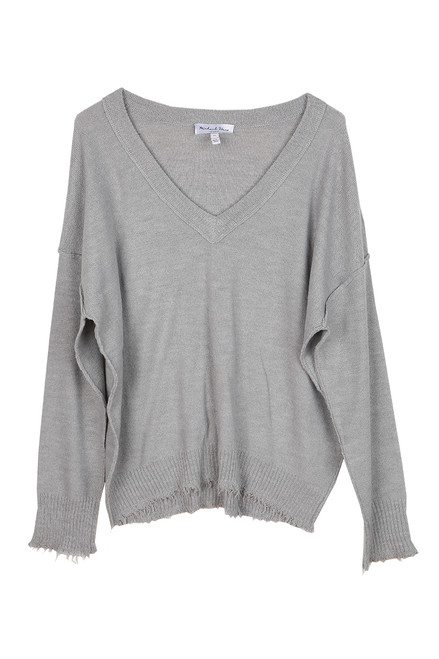 Arina L/S Raw Edge V-Neck Sweater
