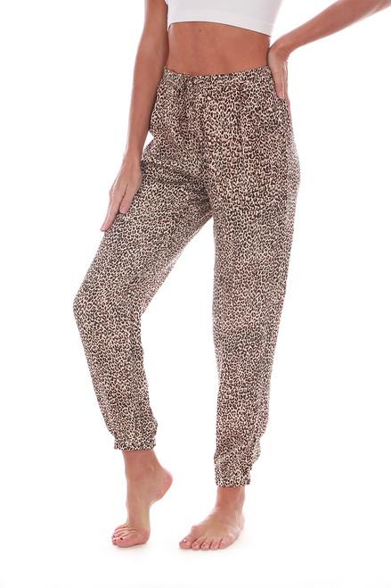 Leopard Satin Jogger Pants