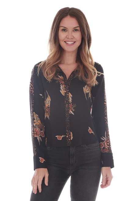 L/S Button Up Floral Blouse