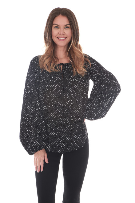 Tie Front Polka Dot L/S Blouse