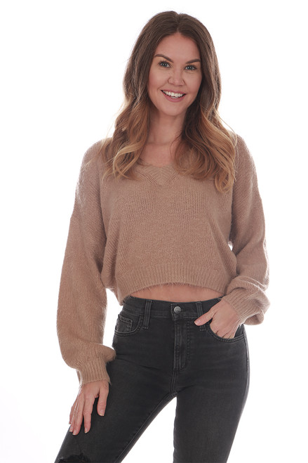Fuzzy Cropped V-Neck Sweater (+ colors)