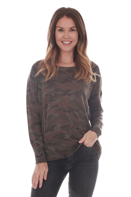 L/S Camo Cut Hem Lightweight Sweater