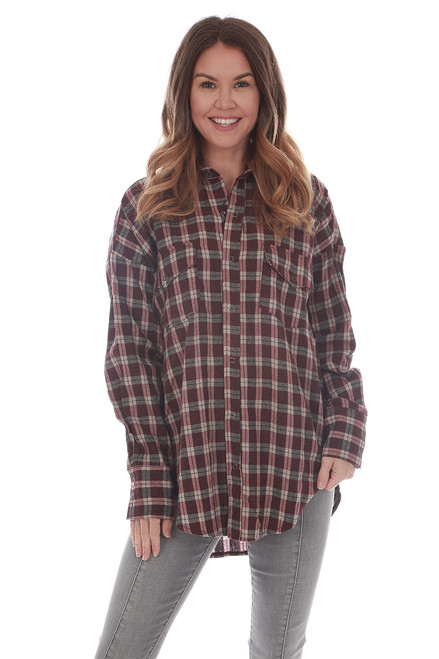 Long Hem L/S Plaid Shirt