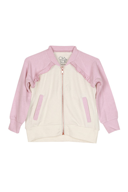 Ruffle Raglan Zip Up Jacket (Toddler/Little/Big Kid)