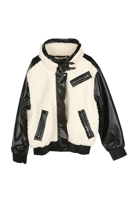 Faux Leather & Fur Bomber Jacket (Big Kid)