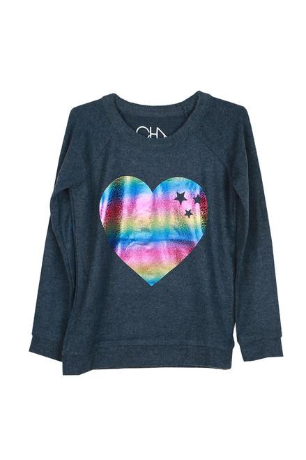 Holographic Heart Crew Sweater (Big Kid)