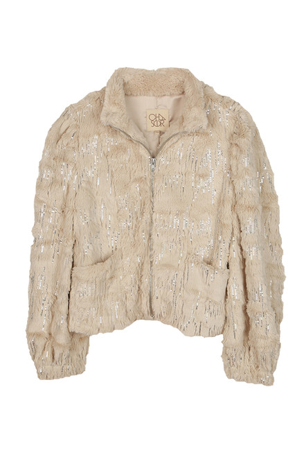 Sequin Puff Sleeve Faux Fur Jacket