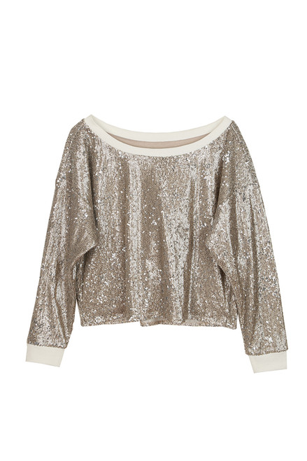Sequin L/S Cropped Pullover