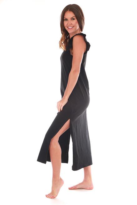 Blakely Slub Ruffle Sleeve Midi Dress