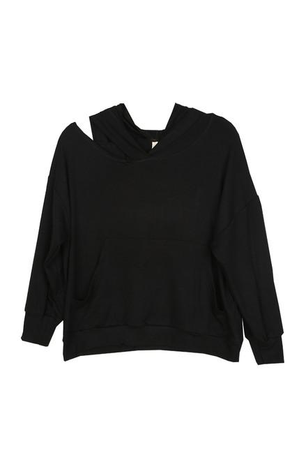 Slit Neck Hoodie Sweater