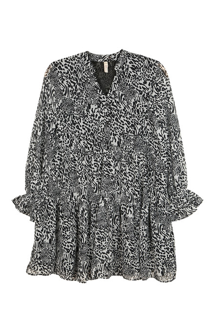Babydoll L/S Animal Print Dress