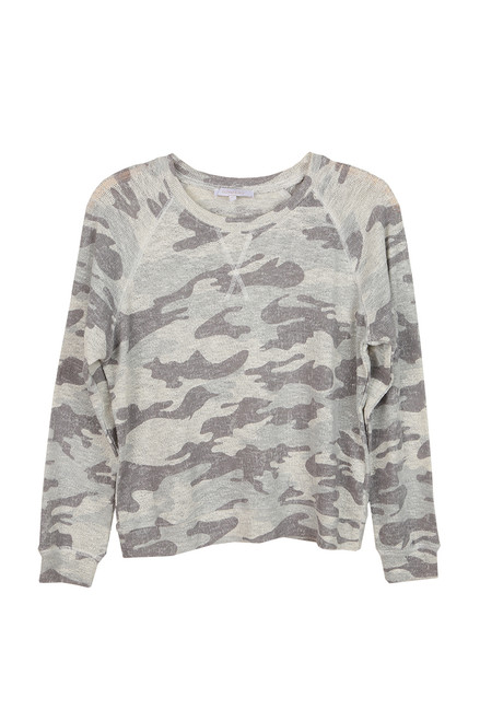 Camo L/s Light Knit Crew Top