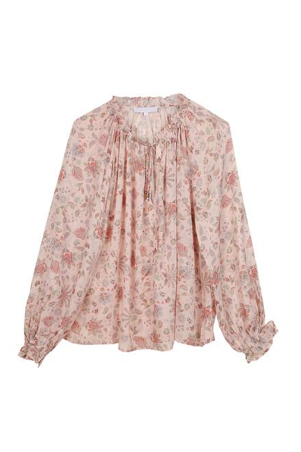 Tie Front L/S Floral Blouse