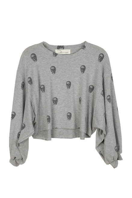 Skull Print Balloon Sleeve Sweater
