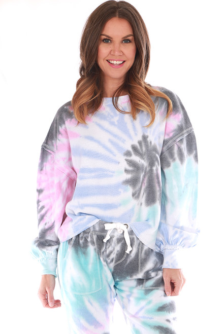 Tie Dye Balloon Sleeve Crewneck Sweatshirt