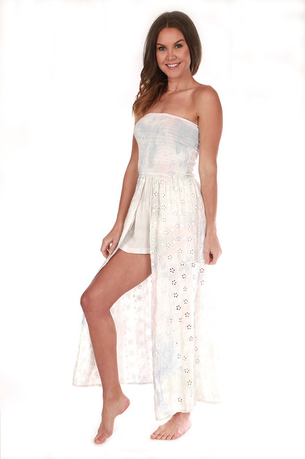 Tie Dye Eyelet Embroidered Maxi Romper
