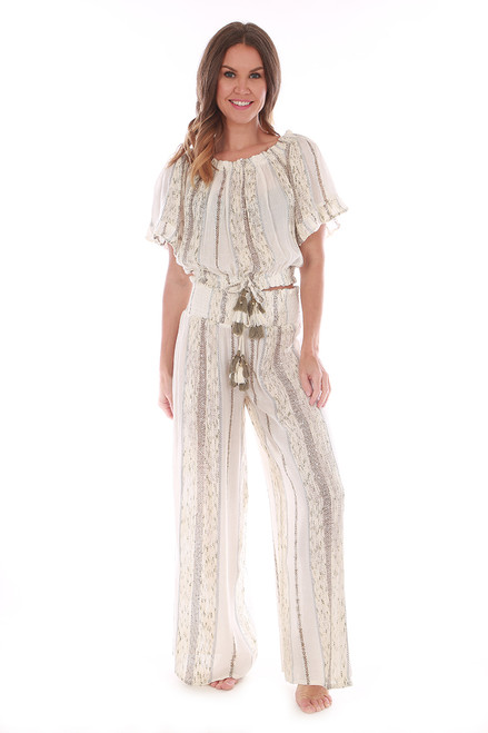 Sequin Stitched Wide Leg Pants