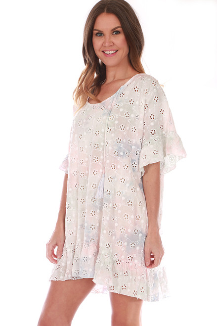 Tie Dye Eyelet Embroidered Coverup Dress