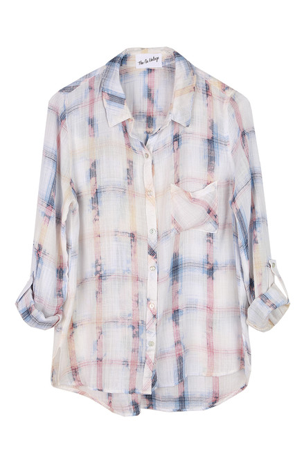 Button Up Plaid Blouse