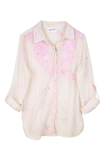 Button Up Embroidered Top