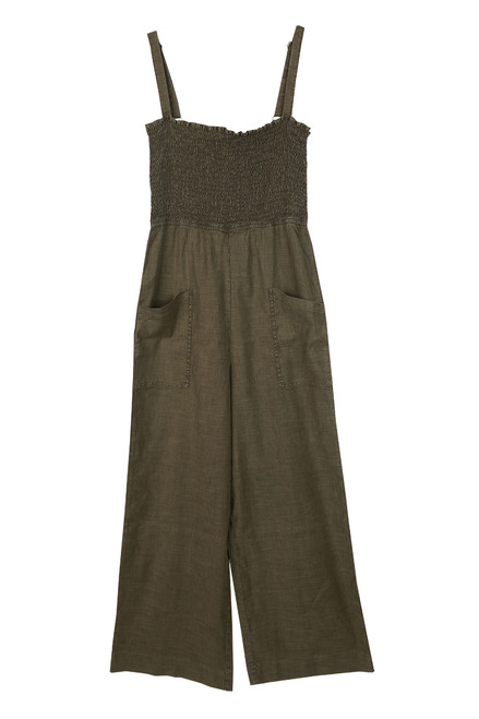 Pretty Fly Linen Blend Smocked Jumpsuit